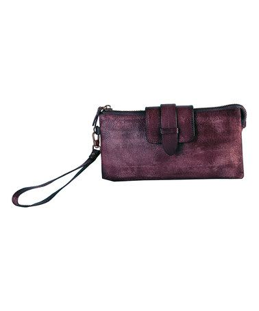 6f2844e861a Another great find on  zulily! Purple Vintage-Dye Leather Wallet ...