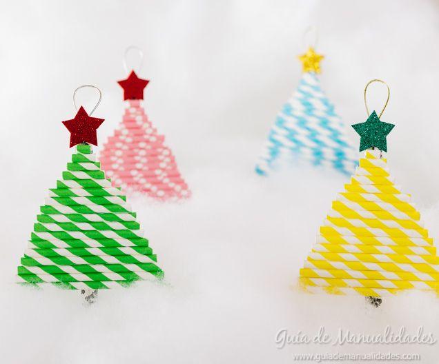 Arbolitos navide os con sorbetes de colores manualidades - Manualidades ninos navidad ...
