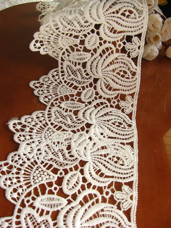 White Cotton Lace Trim Fabric Vintage Style Bridal Gown Wedding Decor Supplies ======MATERIAL======   nylon =====MESUREMENT=====  Fixed width: about 3.6 inches  =======COLOR========  off white as seen in the picture . ======QUANTITY======  This listing is for 1 yard. ======FEATURES======  * Vivid 3D design, romantic and elegant.  * Soft and comfortable handfeel.  * Ideal for Dress, headbware, female underware brim,handbag accessory, hat. pillow,curtain,dolls outfits , home decor etc.   Click ... #dollunderware