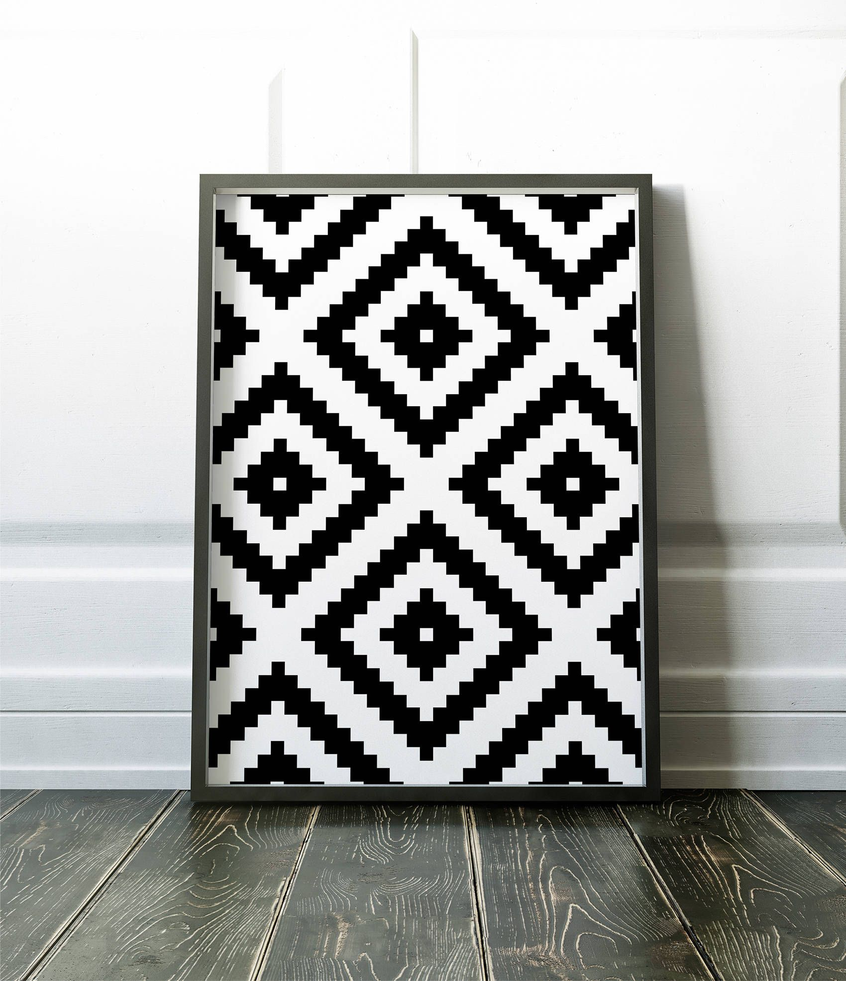 Aztec Pattern Print Modern Wall Art Black And White Print Home Decor Affiche Scandinave Geometric Art Print Large Poster Geometric Art Prints Modern Wall Art Aztec Pattern