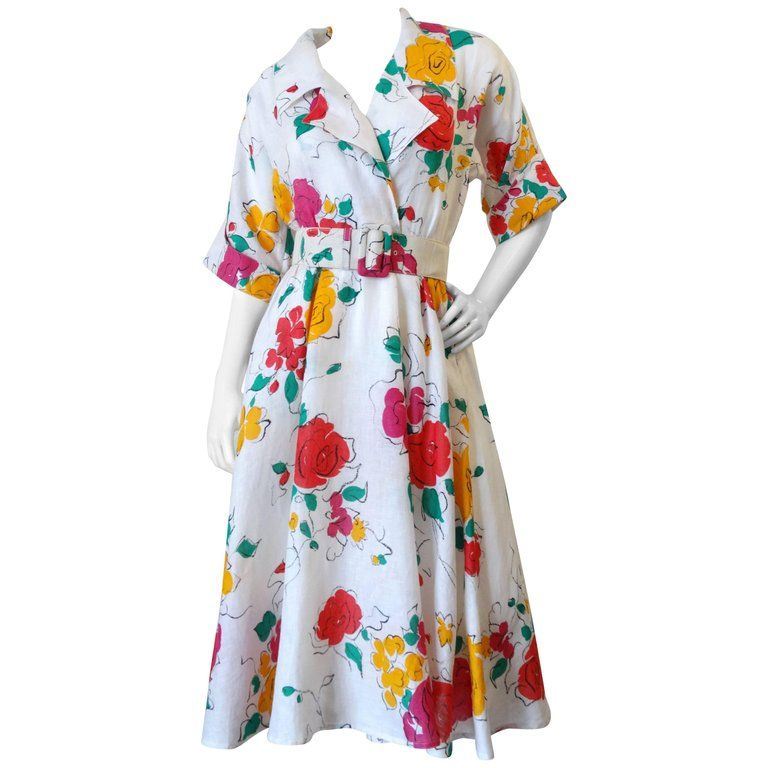 c0a3f672fe3 Beautiful 1980s Gucci Floral Linen Dress in 2018