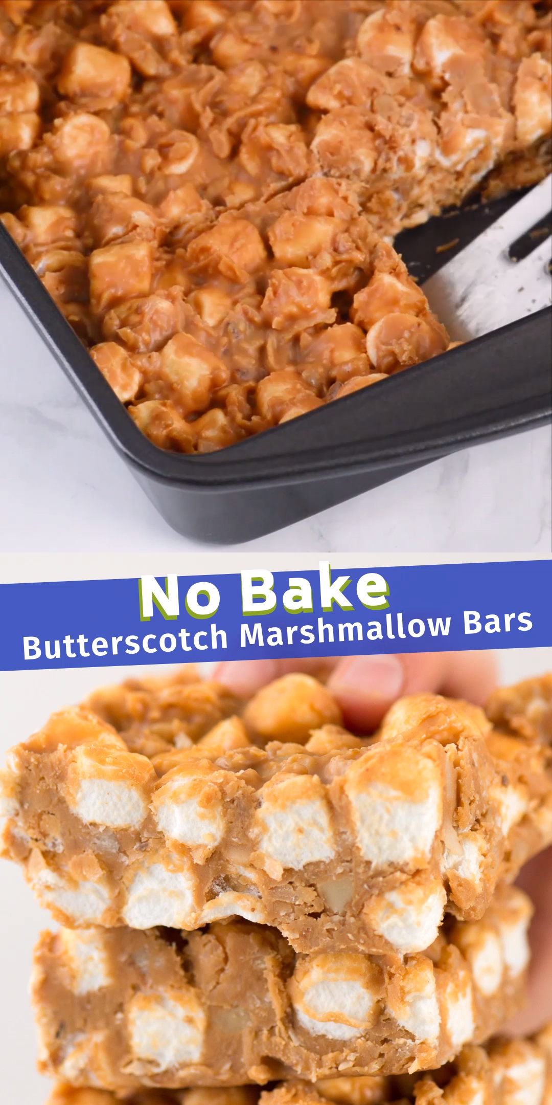 A simple no bake recipe for butterscotch marshmallow bars with coconut and walnuts! This is a classic holiday no bake treat! #nobakechristmas #christmas #christmascookies #butterscotchbars
