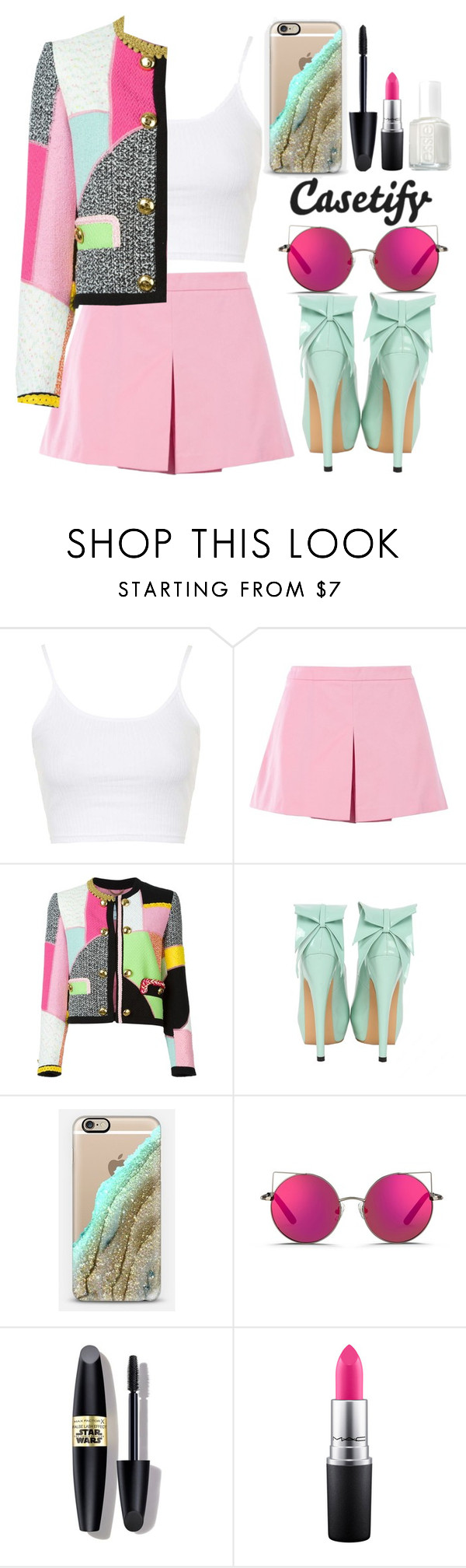 """""""Casetify"""" by gabygirafe ❤ liked on Polyvore featuring Topshop, Love Moschino, Moschino, Casetify, Matthew Williamson, Max Factor, MAC Cosmetics and Essie"""