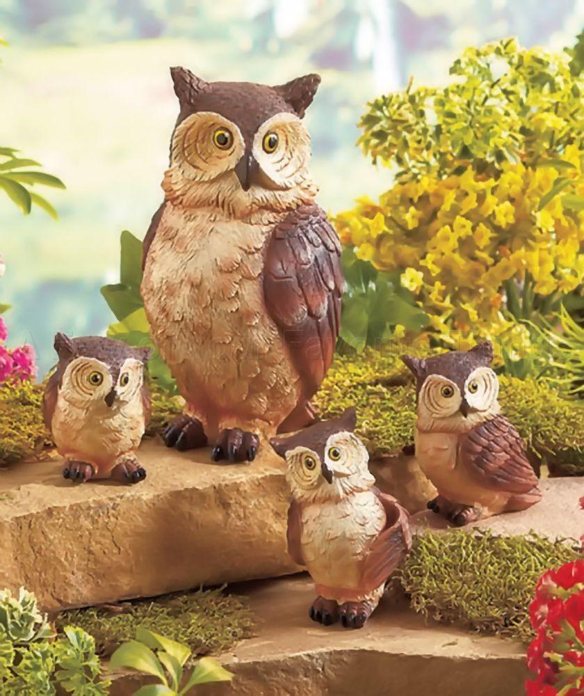 4PC OWL WOODLAND ANIMAL FAMILY GARDEN STATUE YARD LAWN PORCH OUTDOOR ...
