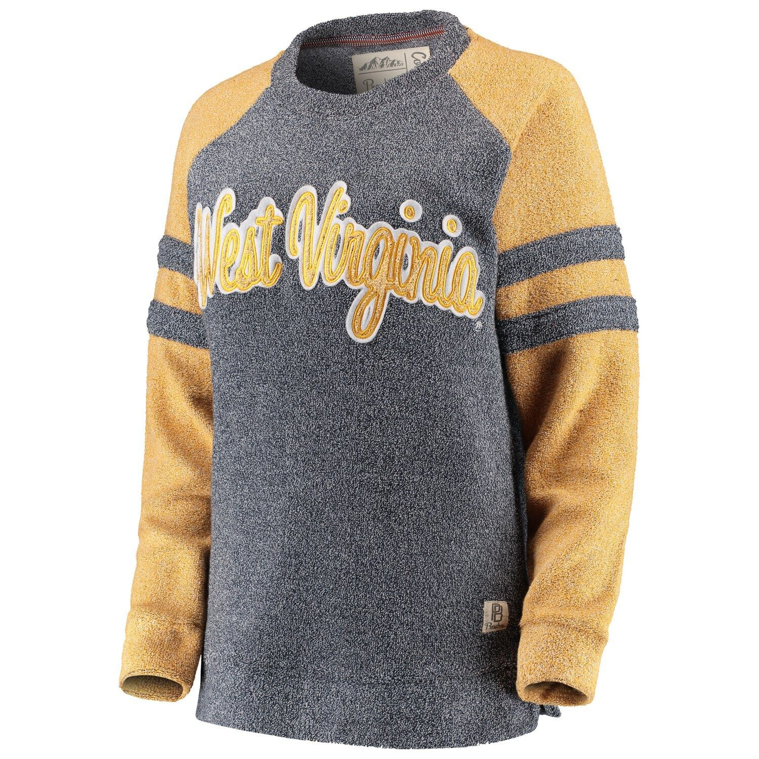 Women's Pressbox Navy West Virginia Mountaineers Dawn Twisted Terry Raglan Sleeve Stripe Crew Sweatshirt #westvirginia