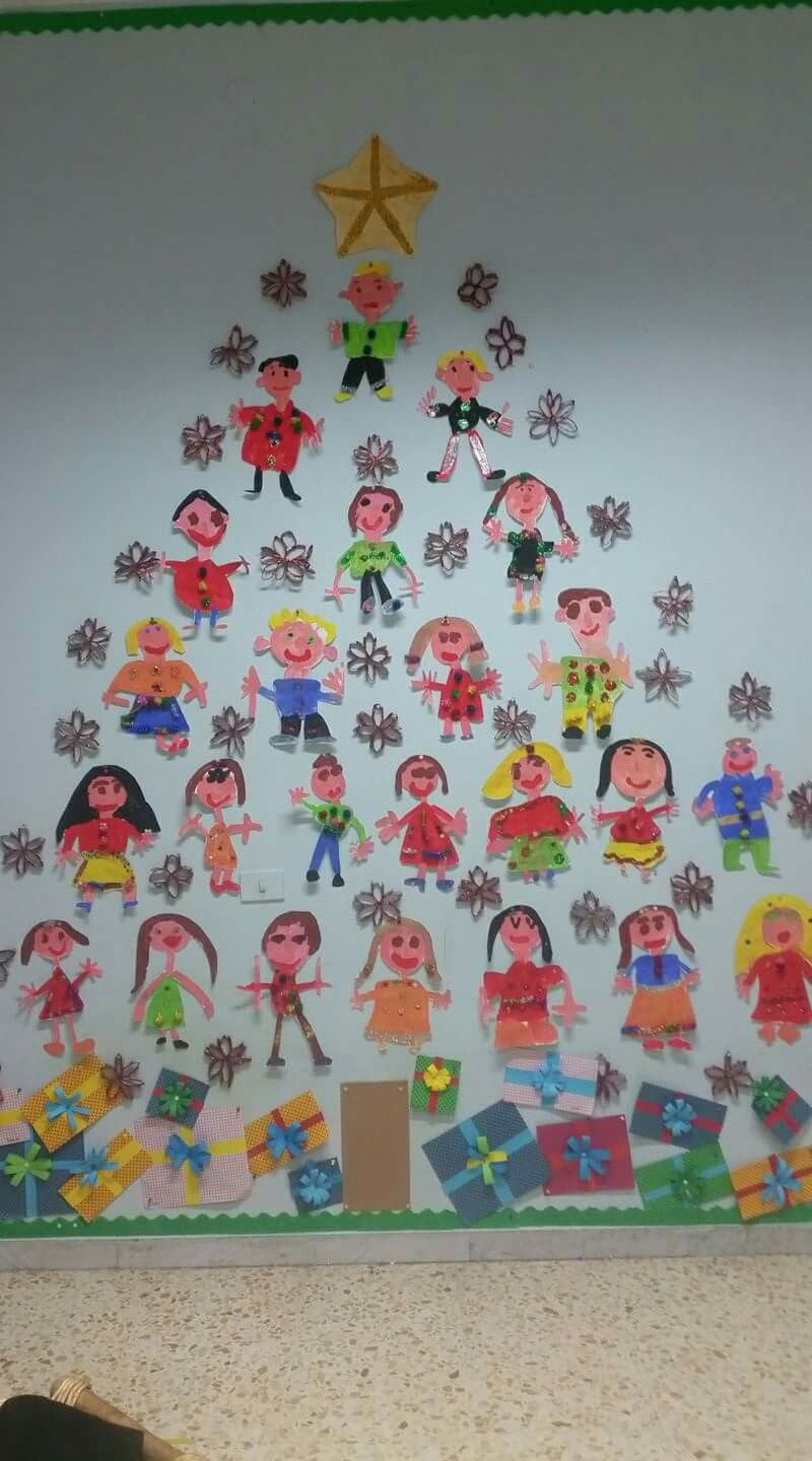 Christmas tree - what a lovely idea! A tree full of kidsu0027 self portraits ) & Image result for decoracion navideña para colegios | Craft ideas ...