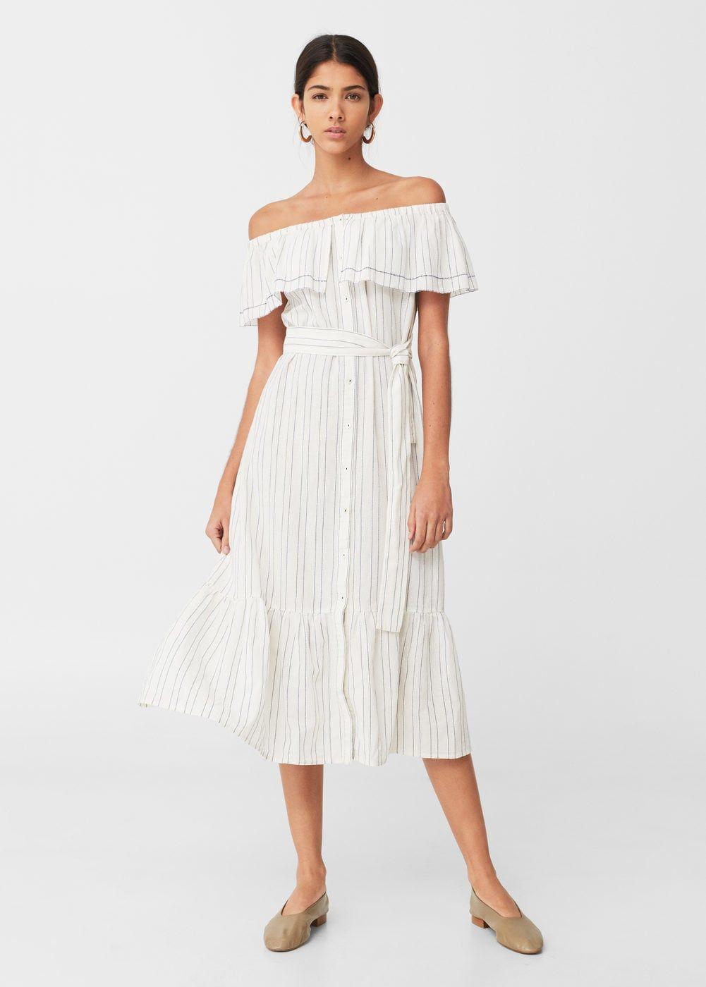 Vestido Off Shoulder Estampado Mujer Mango Espana Off Shoulder Dress Womens Beach Dresses Striped Dress Summer