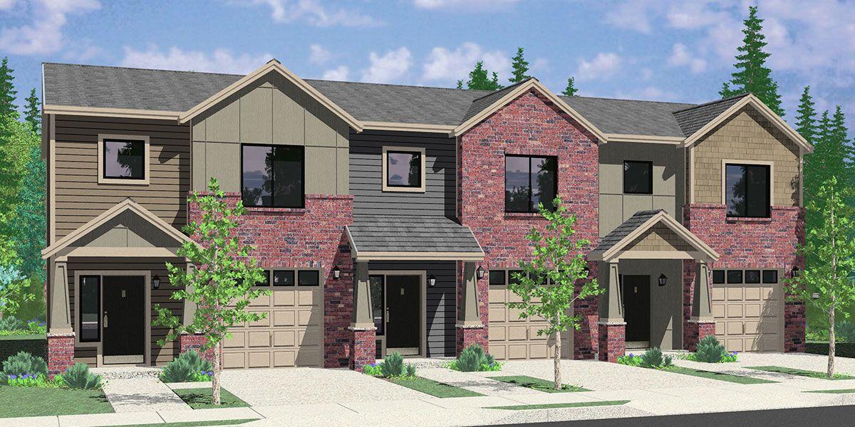 House Front Color Elevation View For T 419 Triplex Brownstone Craftsman Townhouse T 419 House Construction Plan Duplex House Design Duplex Floor Plans