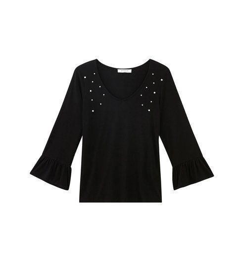 4b4d4b98c22a T-shirt z perełkami czarny - Promod   Tom   Pinterest   Toms
