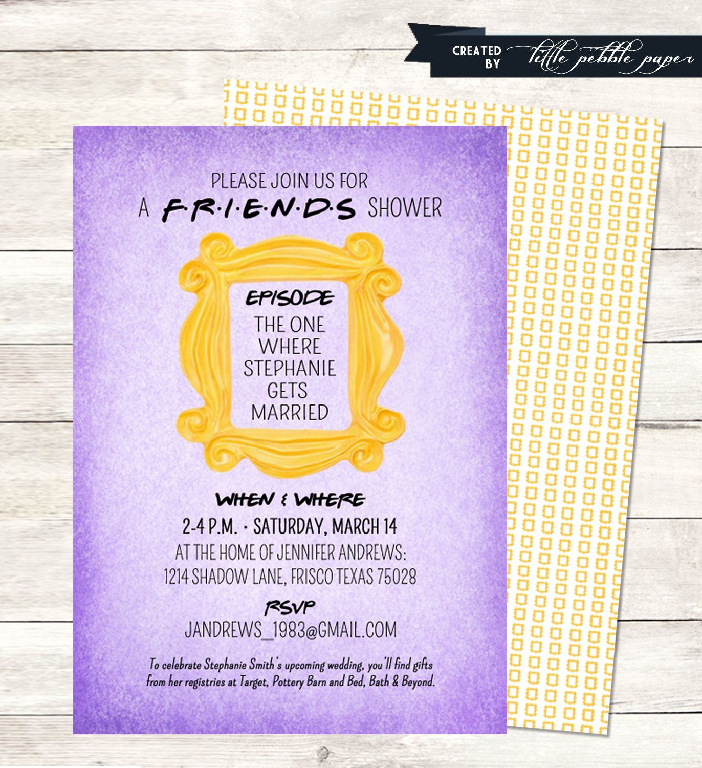 Friends themed shower or birthday party invitation for Themed bridal shower invitations