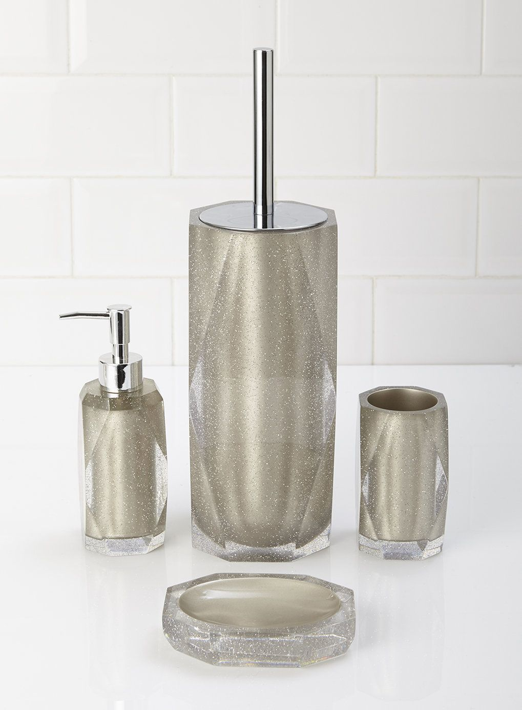 silver sparkle bathroom accessories. Pearl Glitter Toilet Brush  Soap dispancers Pinterest
