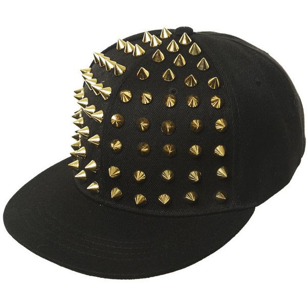 Studded Baseball Hat (285 MXN) ❤ liked on Polyvore featuring accessories, hats, gorras, black, baseball hats, black snapback hats, baseball cap, snapback hats and black baseball cap