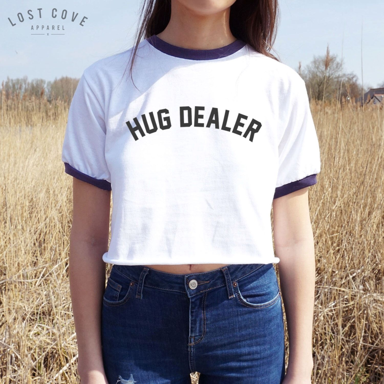 Black t shirt outfit tumblr - Hug Dealer Crop Ringer Tee T Shirt Ootd Fashion Top Shirt Tumblr Fresh By Lostcoveapparel