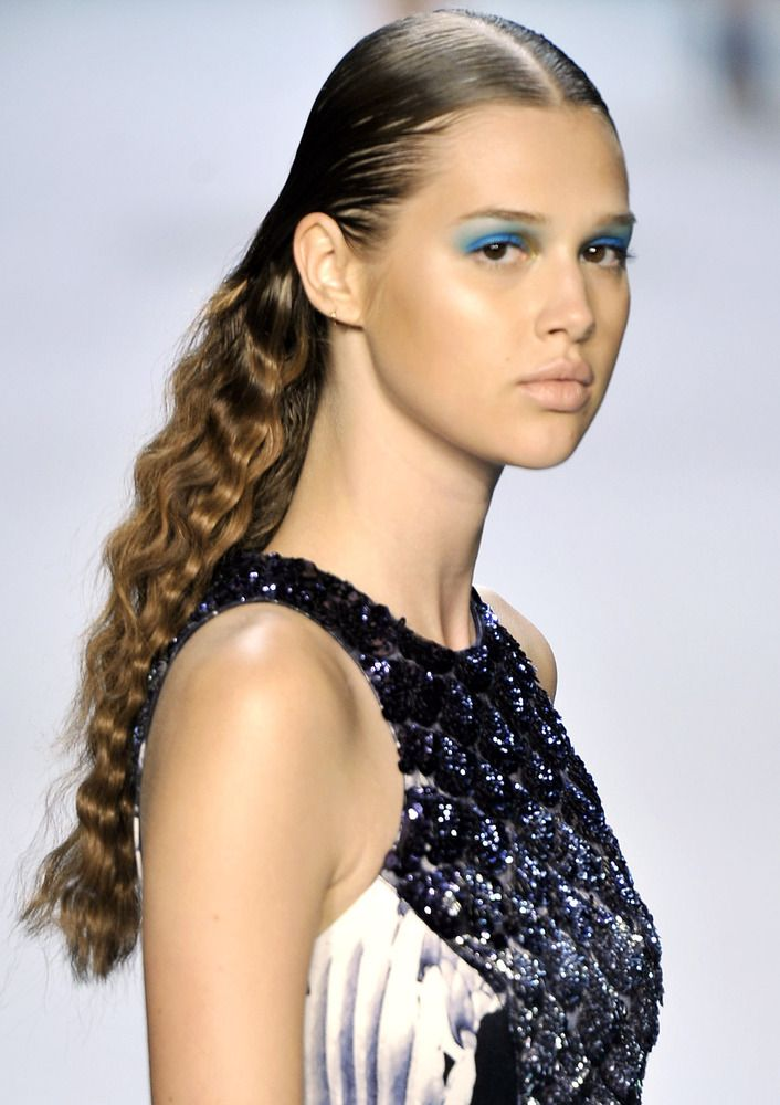 Crimped Hair At NYFW Spring 2013 Monique Lhuillier