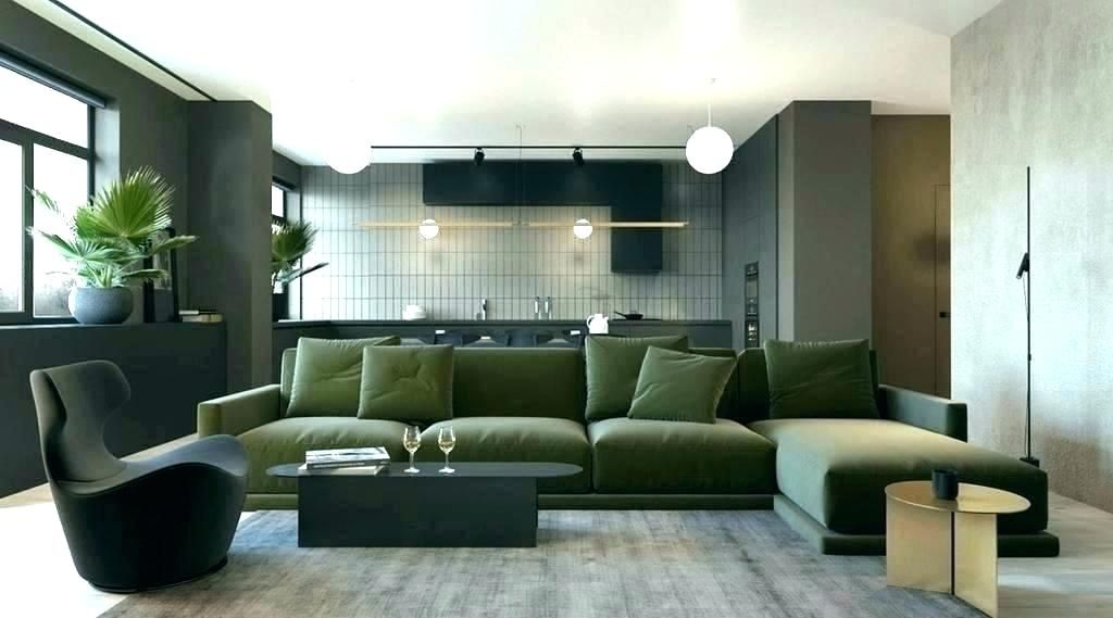 olive couch pops with plants  green sofa living room
