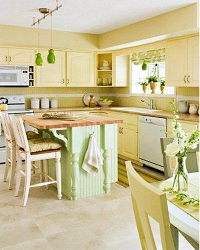yellow and green country style kitchen. I love the wall colors.   My ...
