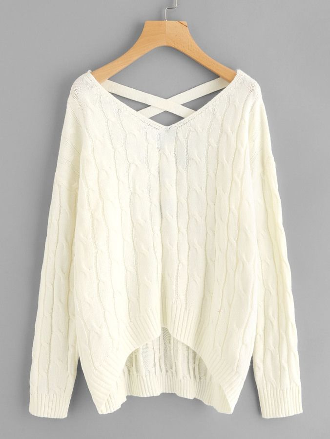 5492a61199ef63 Shein Crisscross V Back Cable Knit Jumper | Products | Cable knit ...