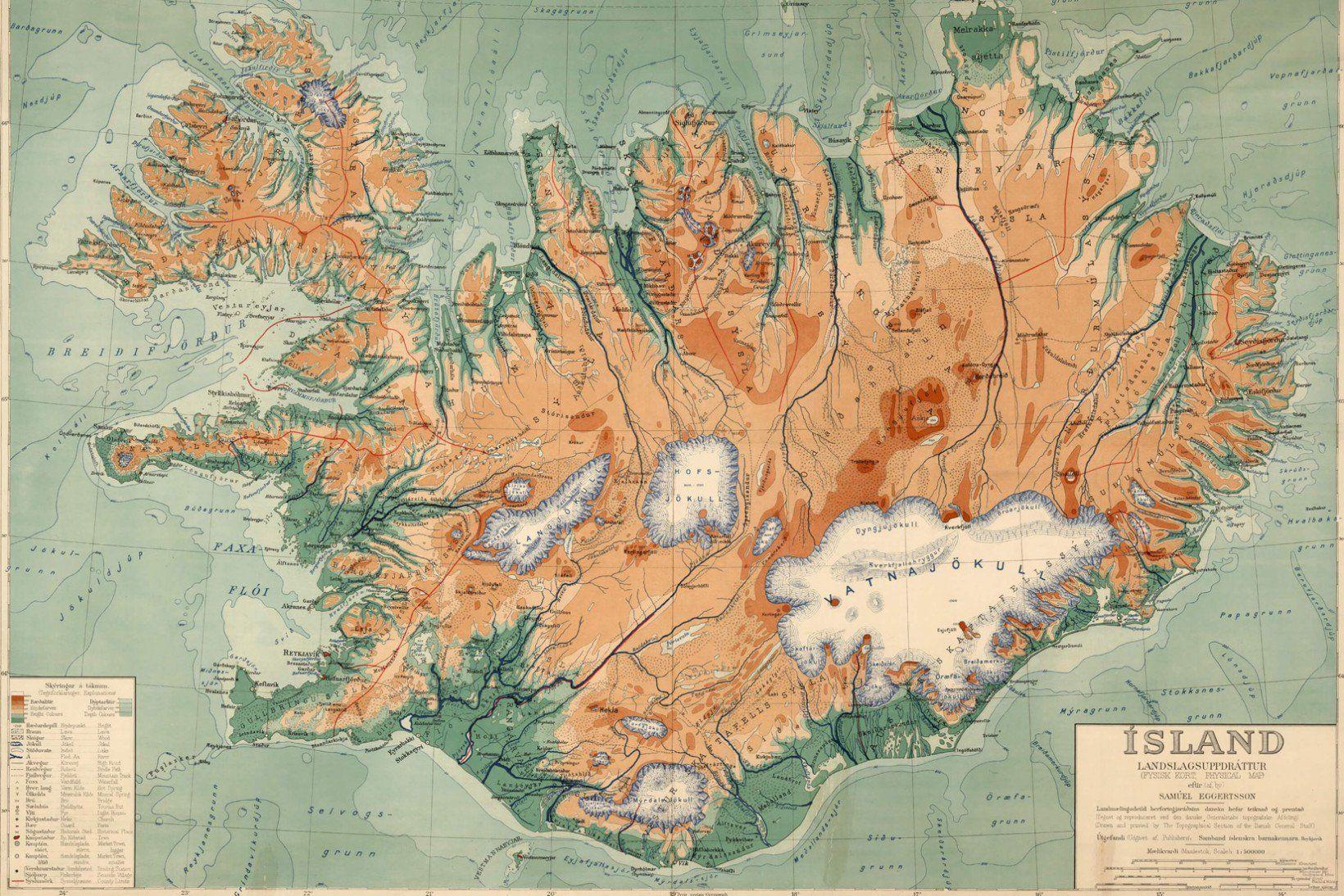 Iceland Vintage Map Wallpaper Mural Murals Wallpaper Iceland Map Vintage Map Map Decor