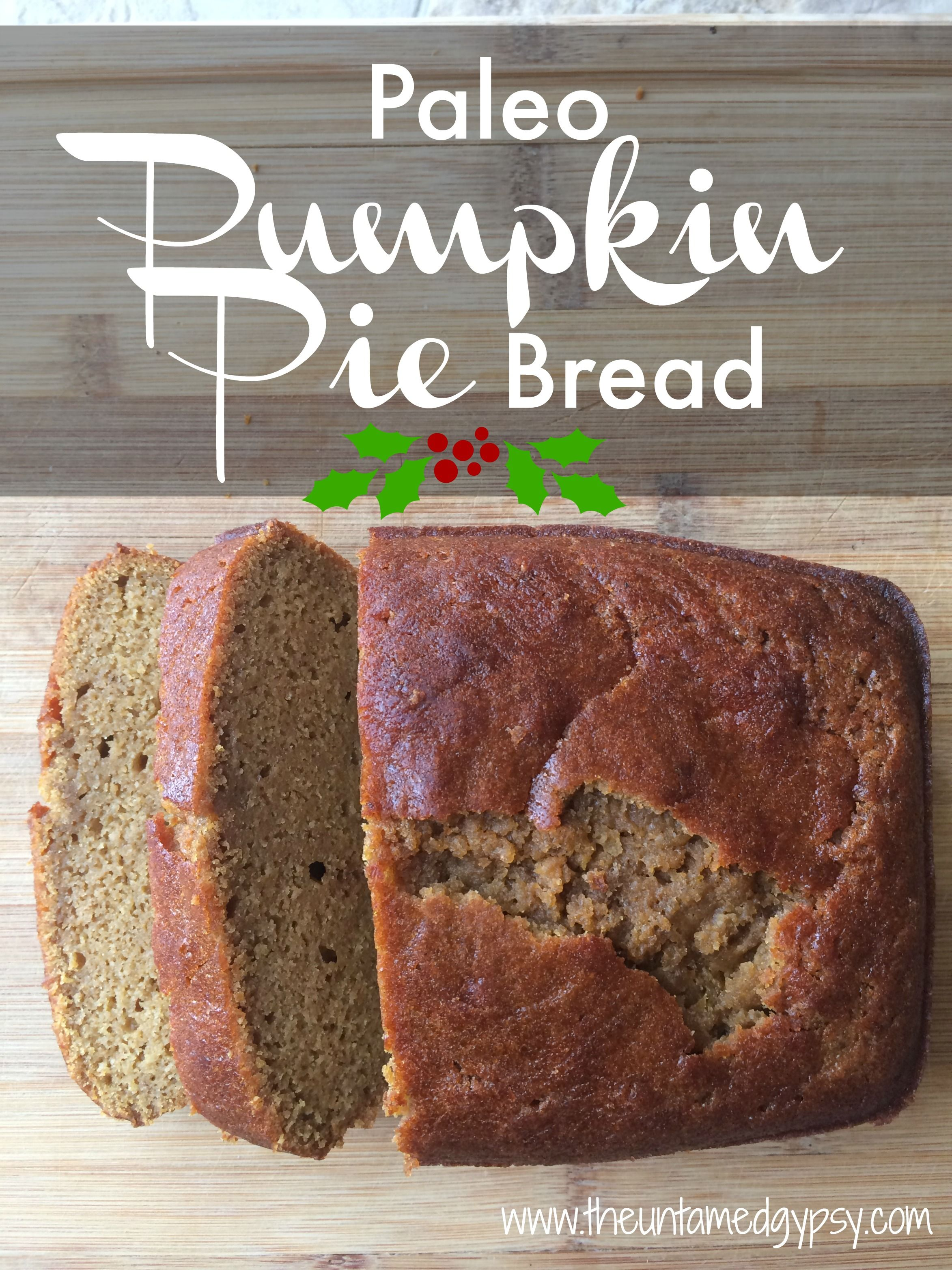 This paleo pumpkin pie bread is lightly sweet and SUPER moist inside, with a nice firmer pie-crusty type texture on the outside.  It holds up well when cool, and when eaten warm it has this beautiful almost creamy (not doughy) texture that is simply heaven in your mouth!  Plus it's insanely quick and easy: it only takes a spoon, a bowl, and a bread pan and you are good to go- no need to bring out all the kitchen appliances for this paleo treat!