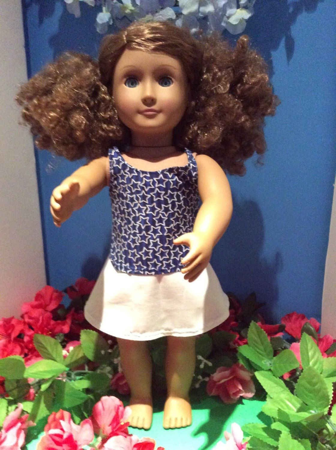 Tank Top With Skirt, 18 Inch Doll Clothes , Handmade , Fits All  18 Inch Dolls Color : Blue with stars and white skirt by BlueCowDesigns on Etsy