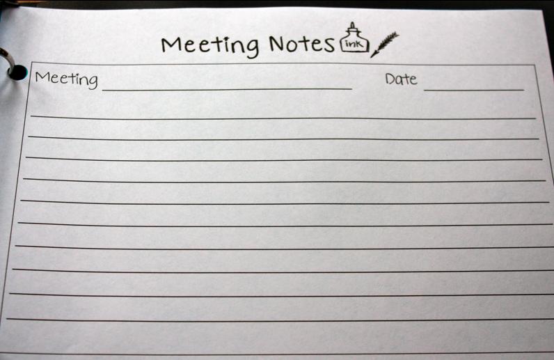 Meeting Note Taking Template Allinone Teacher Binder Printable  Binder Teacher And School
