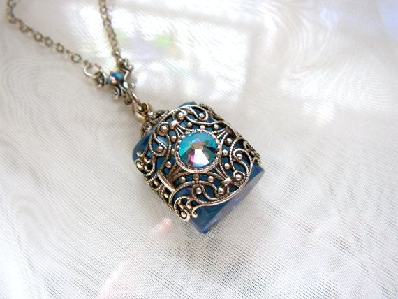 Vintage Inspired Silver Filigree Blue Crystal Perfume Bottle Necklace