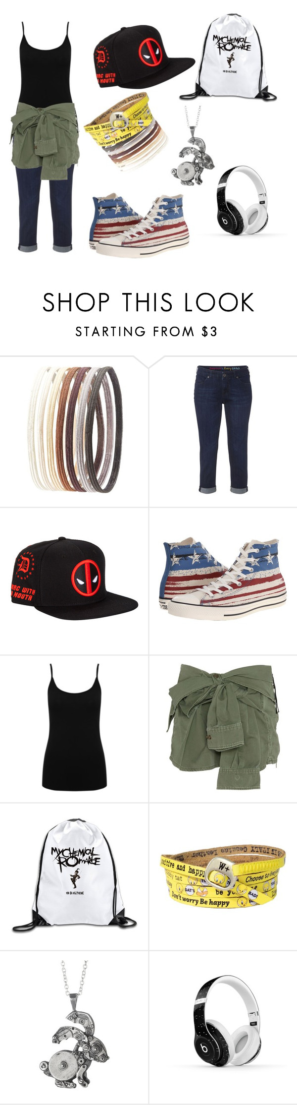 """""""Day In Town"""" by xxgeekygeekxx ❤ liked on Polyvore featuring Charlotte Russe, White Stuff, Converse, M&Co, Faith Connexion and Beats by Dr. Dre"""