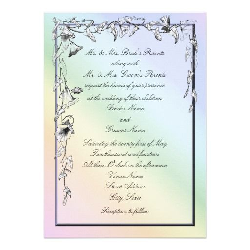 Rainbow Theme Morning Glory Wedding Invitations