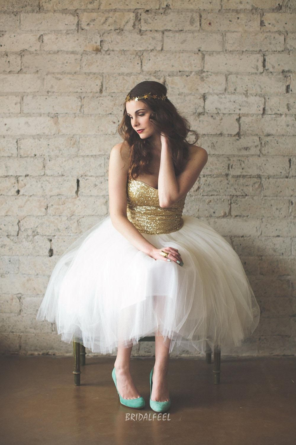 Two tone sequin wedding dress  Gold and Ivory Twotone Tea Length Strapless Cocktail Bridesmaid