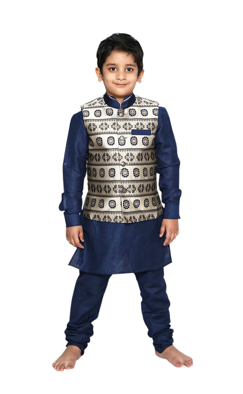 6594d358d Solid Navy Blue Kurta Pajama Set With Nehru Waistcoat Baby Boys Indian  Ethnic Dress Kids Traditional Wear for Weddings & Any Special Occasions # ethnicwear ...