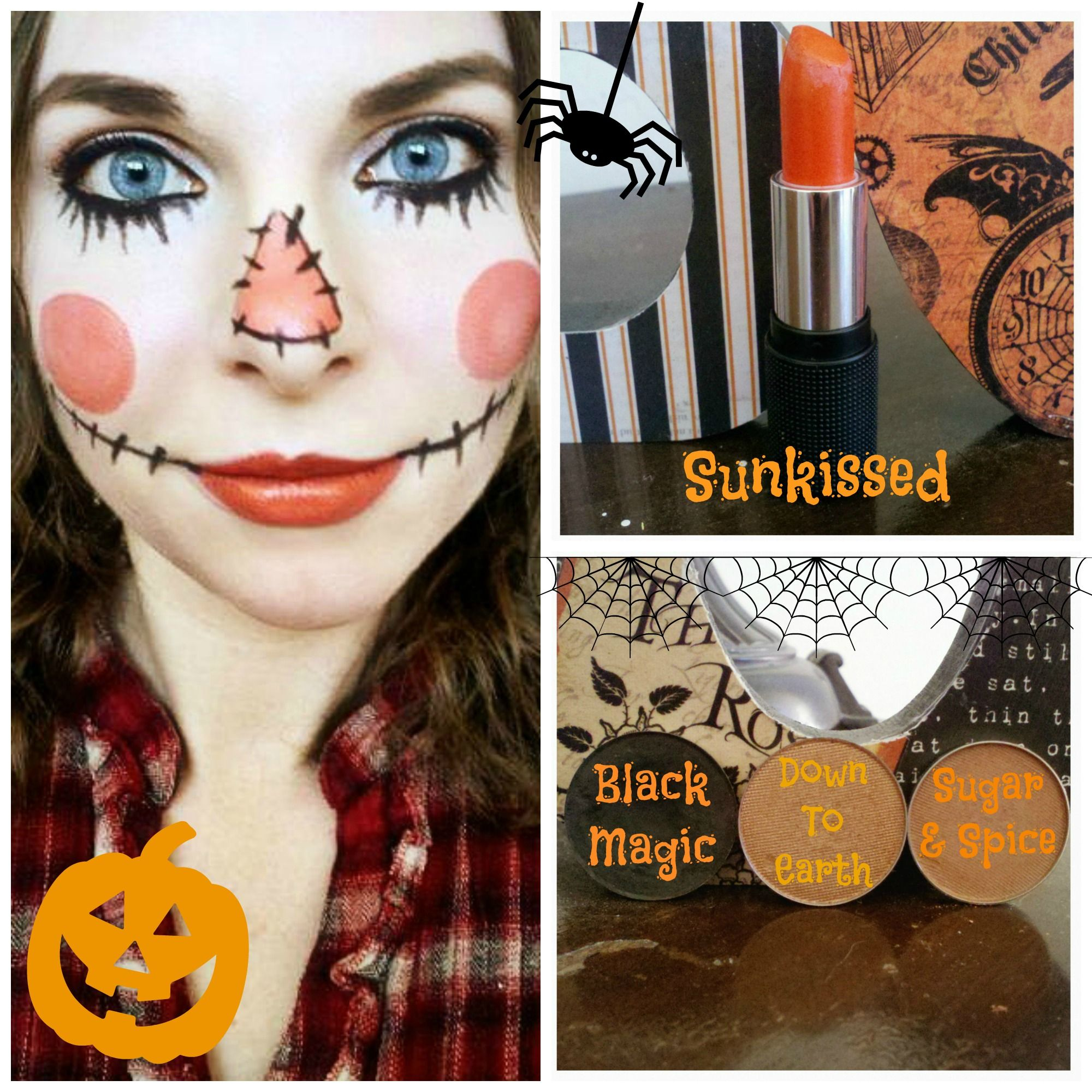 Did this spooky cute scarecrow makeup with Red Apple Lipstick\'s ...