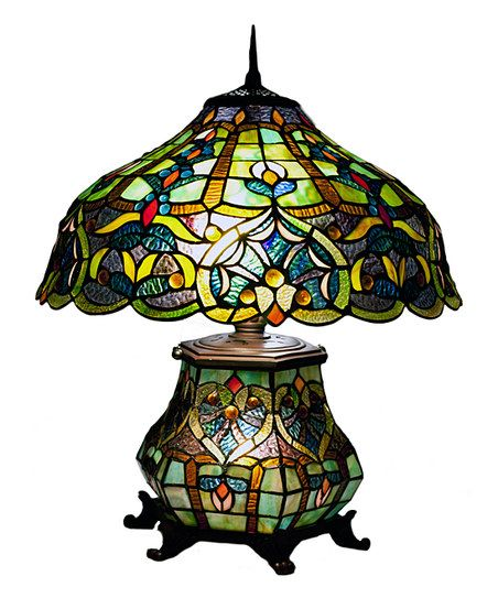 River Of Goods Webbed Heart Stained Glass Double Light Table Lamp