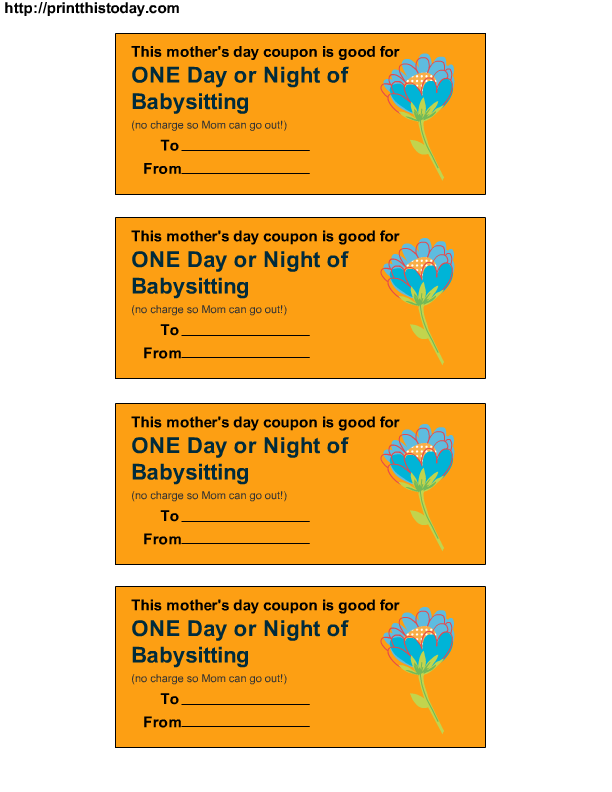 babysitting gift certificate template - one day or night of babysitting gift ideas pinterest