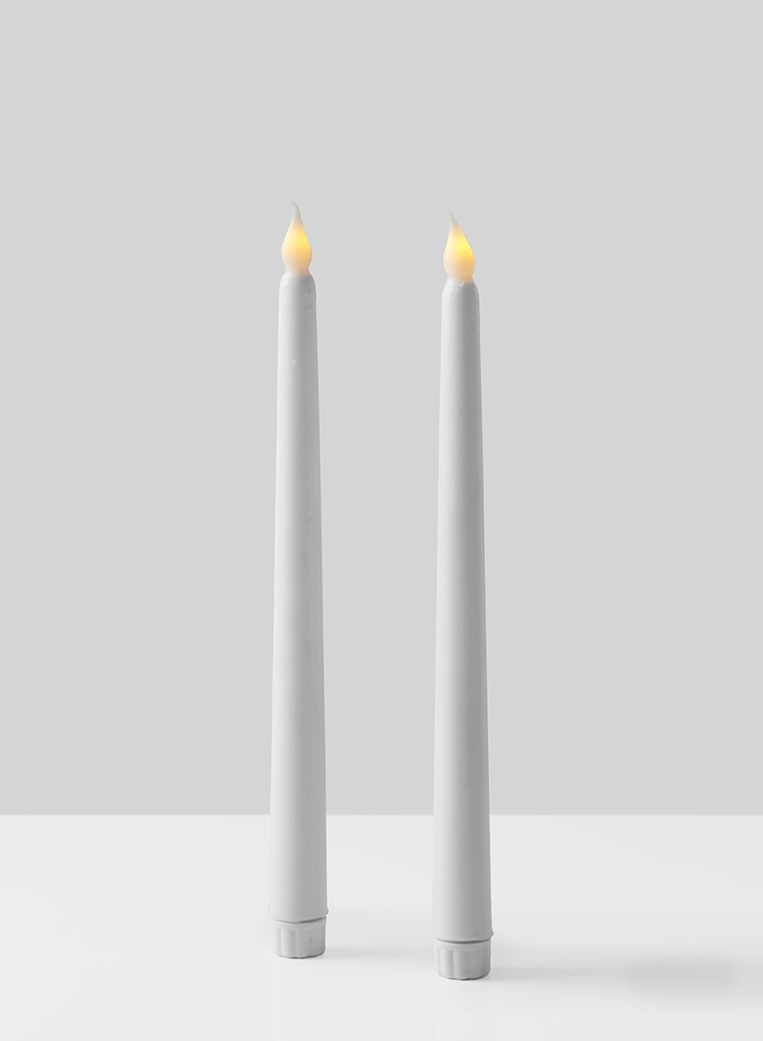 11in White Wax L E D Taper Candle Set Of 2 Led Taper Candles