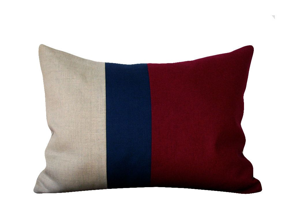 Burgundy Colorblock Pillow In Navy And Natural Linen