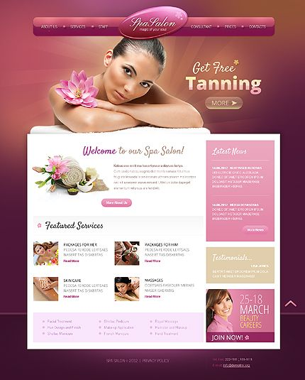 Tanning Salon & Spa Web Design Layout | Salon website ...