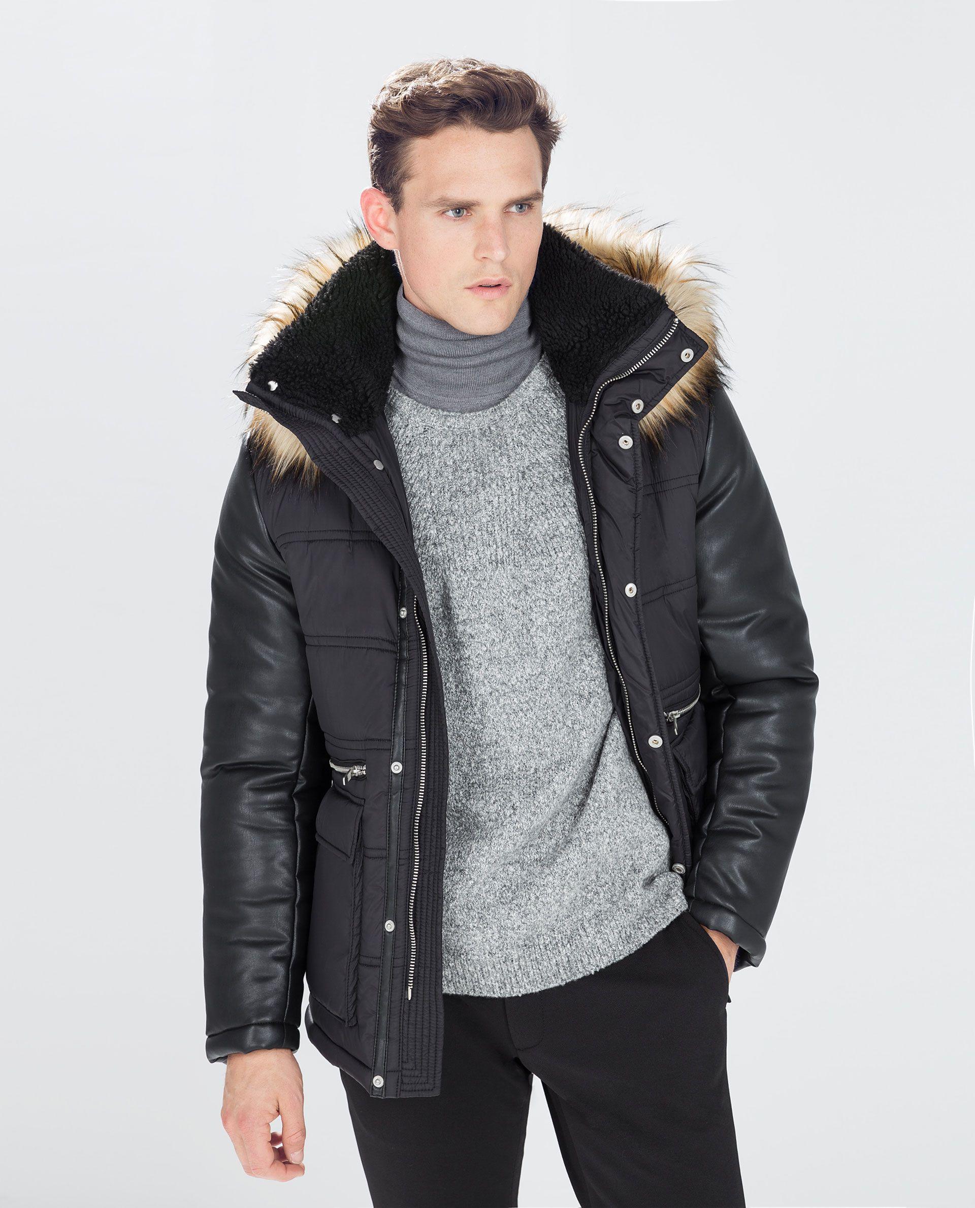 HOODED SHORT COAT from Zara Zara man, Short coat