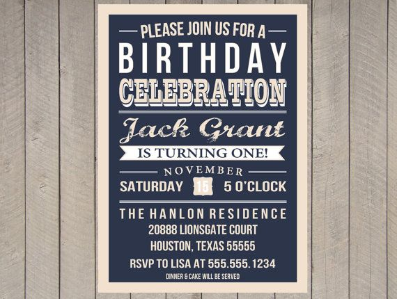 Boys First Birthday Vintage Invitation Navy and Tan Typography