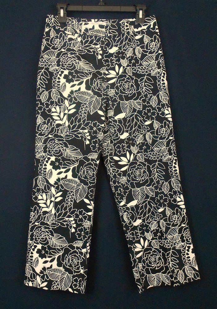 Paraphrase Black And White Floral Print Sz 6 Stretch Capri Capriscropped Pant For Women Pants
