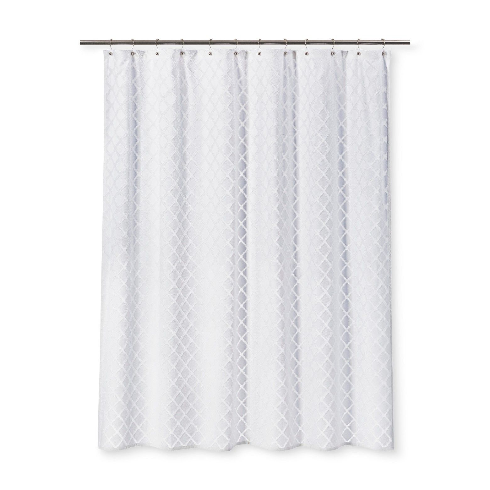 Dyed Clipped Diamond Shower Curtain White Threshold White