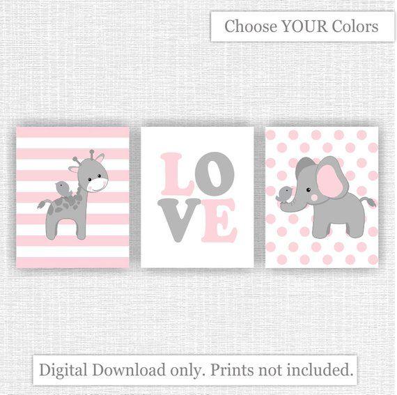 INSTANT DOWNLOAD rosa und grau Baby Kinderzimmer Printable