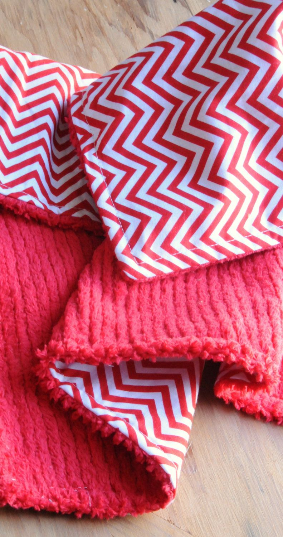 Chevron Baby Quilt, Baby Blanket w/ Cotton Chenille By Robert Kaufman. $35.00, via Etsy.