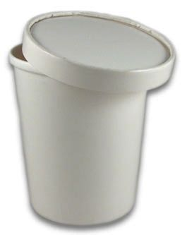 Paper Ice Cream Tub (1ltr) with Lid - White