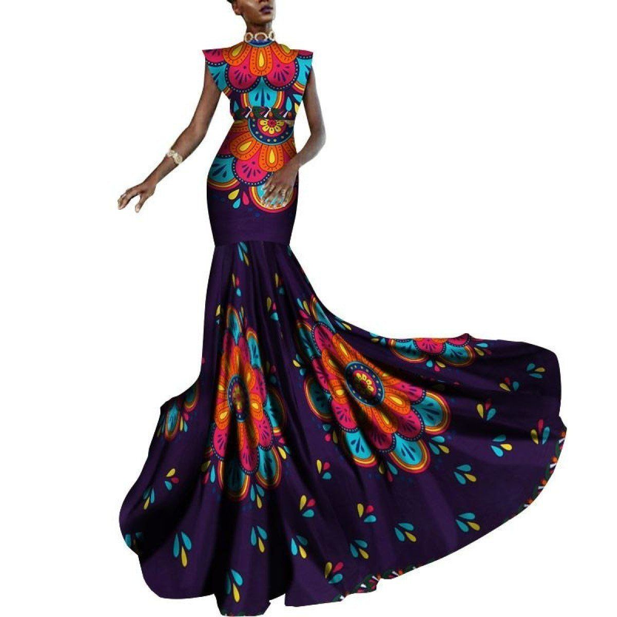 African Women Dashiki Print Clothing Sleeveless Ankara Mermaid Party Long X11434 #africandressstyles
