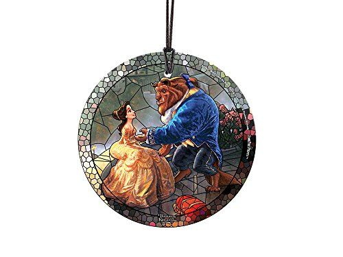 disney beauty and the beast stained glass style starfire prints glass ornament home and christmas tree decoration