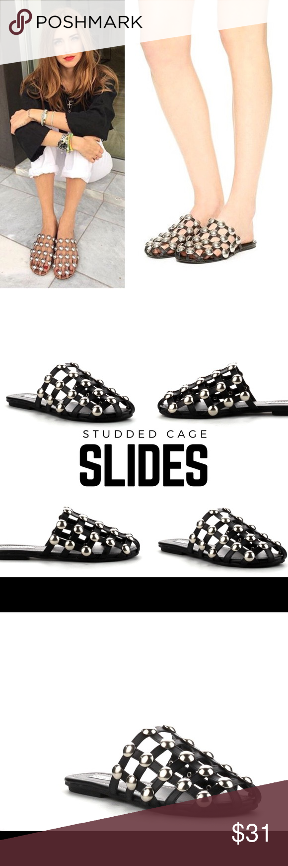 664db5f6d20b Studded Cage Slides Faux leather caged slides with silver studs Cape Robbin  Shoes Sandals