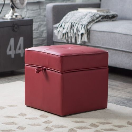 Tova Faux Leather Storage Ottoman   Crimson Red   Ottomans At Hayneedle