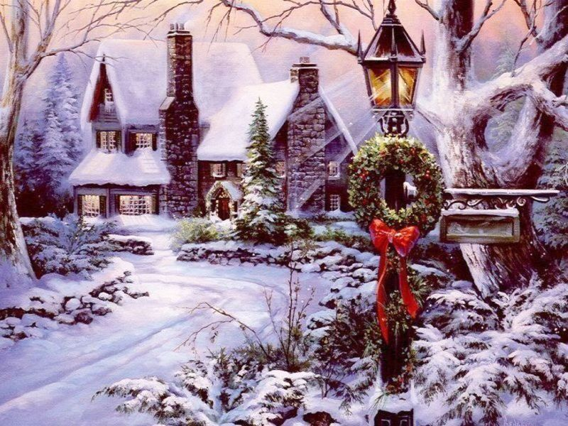 Рождественские картинки американских художников, надписью