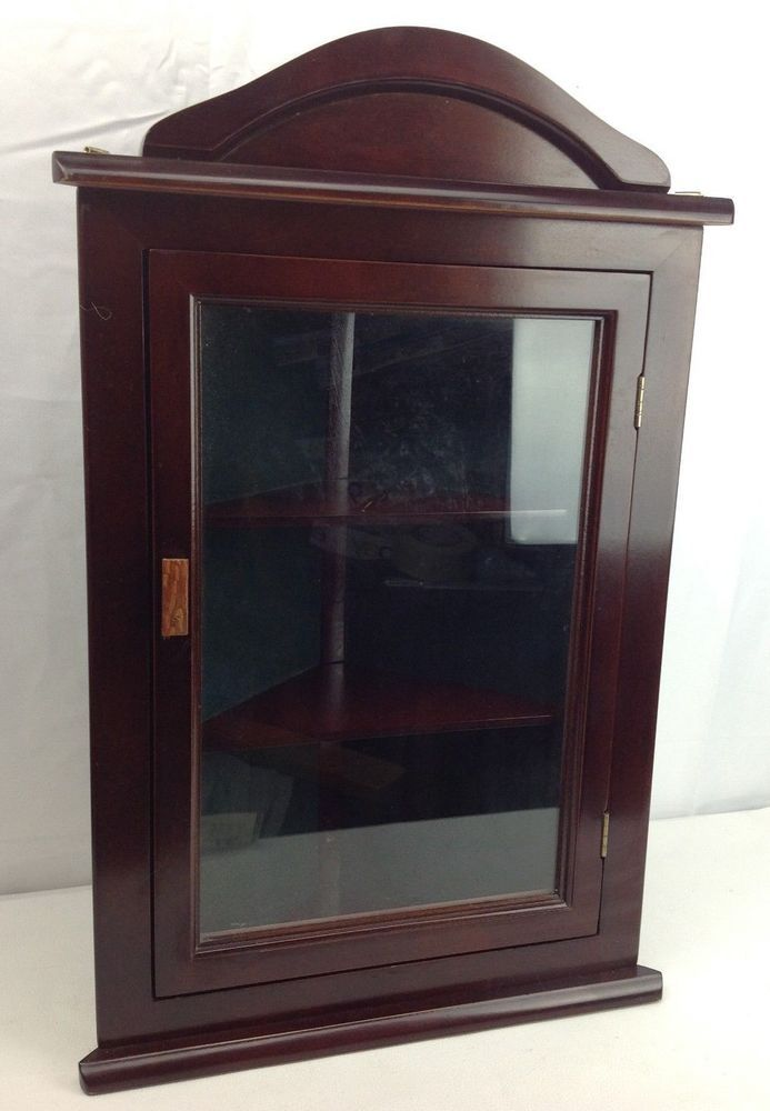 Miniature Corner Curio Cabinet Wall Shelf Display Case Dark Wood Tone Gl Door Unknownay