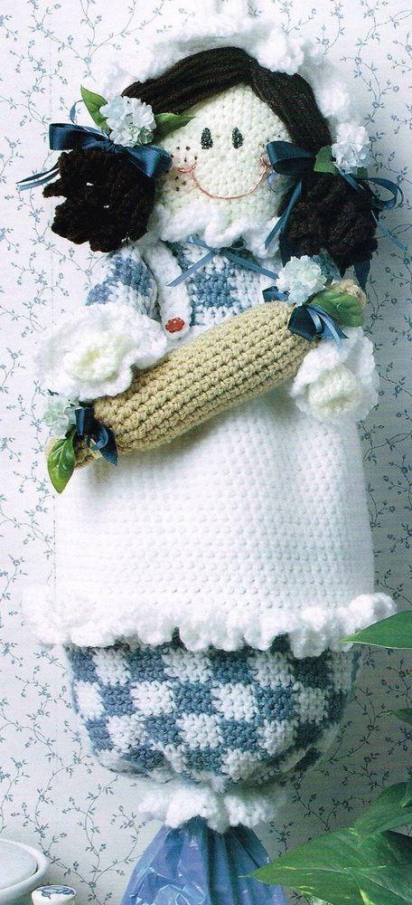 Adorable Doll Plastic Bag Holder Dispenser Crochet Pattern | Adornos ...